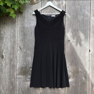 Calvin Klein classic black fit and flare dress A5